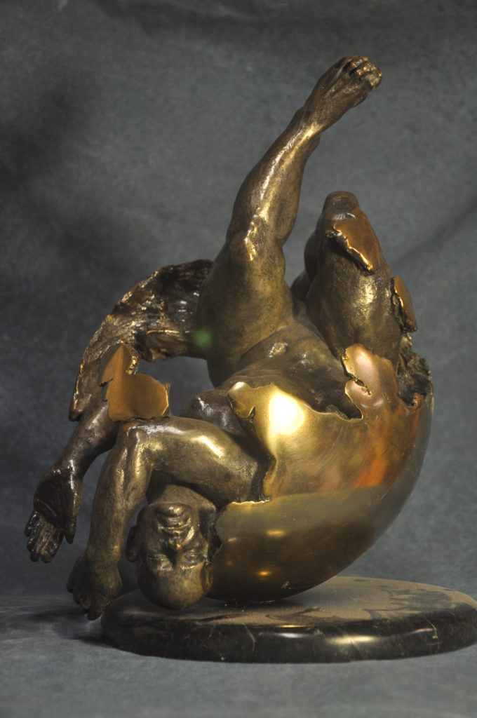 Birth, Fine art figurative sculpture in Bronze by Artist Robert Cunningham