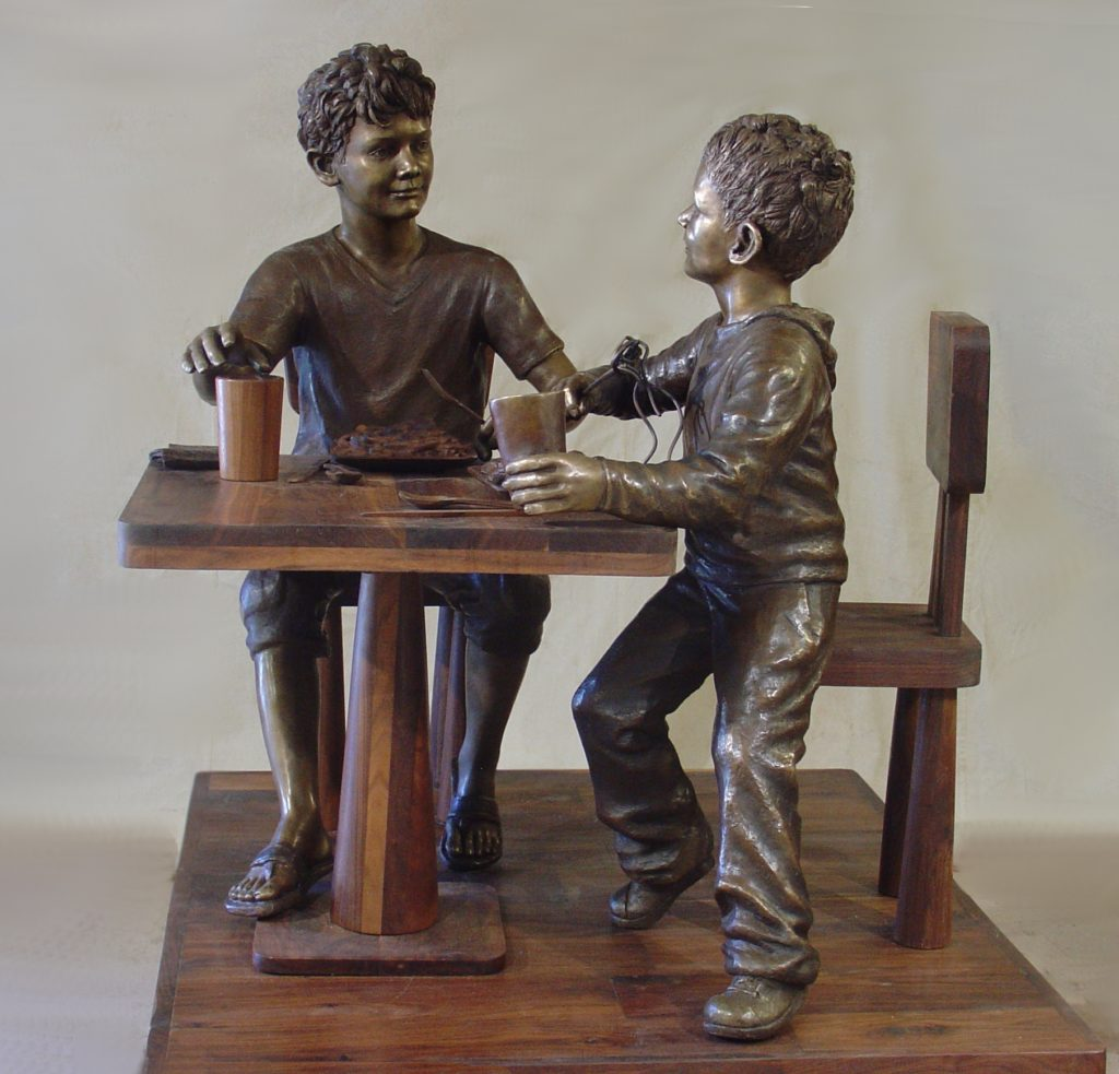 Boys eating pasta, fine art figurative bronze sculpture by artist Robert Cunningham