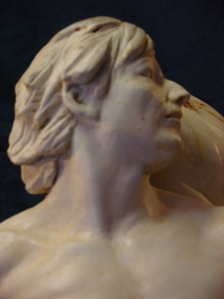 Man's Head, Detail, figurative sculpture by Robert Cunningham
