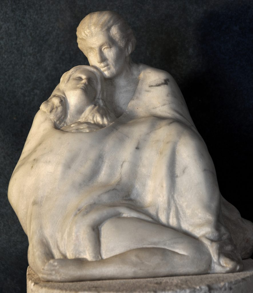 A moment, Fine Art Figurative Marble sculpture of a couple by Robert Cunningham