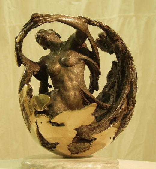 Awakening figurative sculpture by sculptor Robert Cunningham bronze fine art
